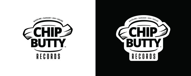 Idea Design Chip Butty Records Logo Design Black and White