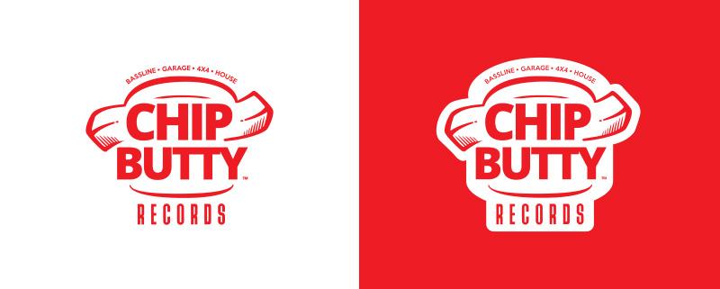 Idea Design Chip Butty Records Logo Design Red and White