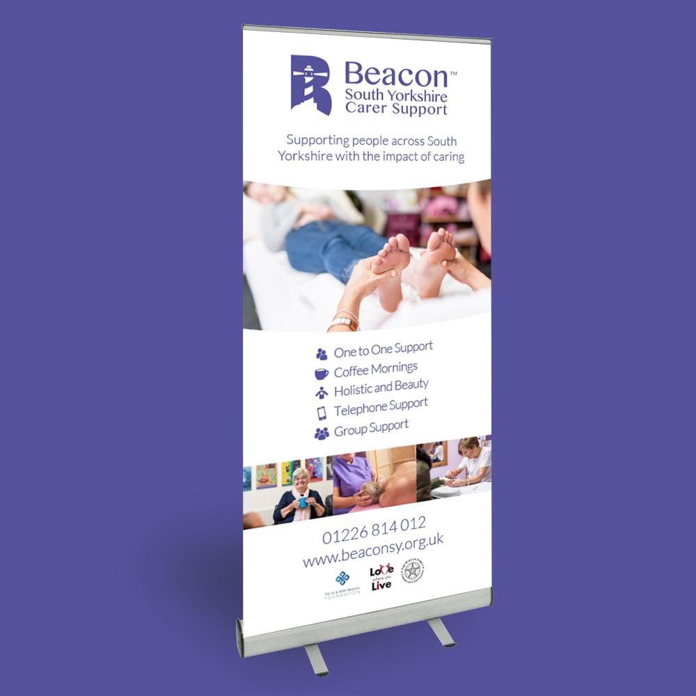 beacon support roller banner