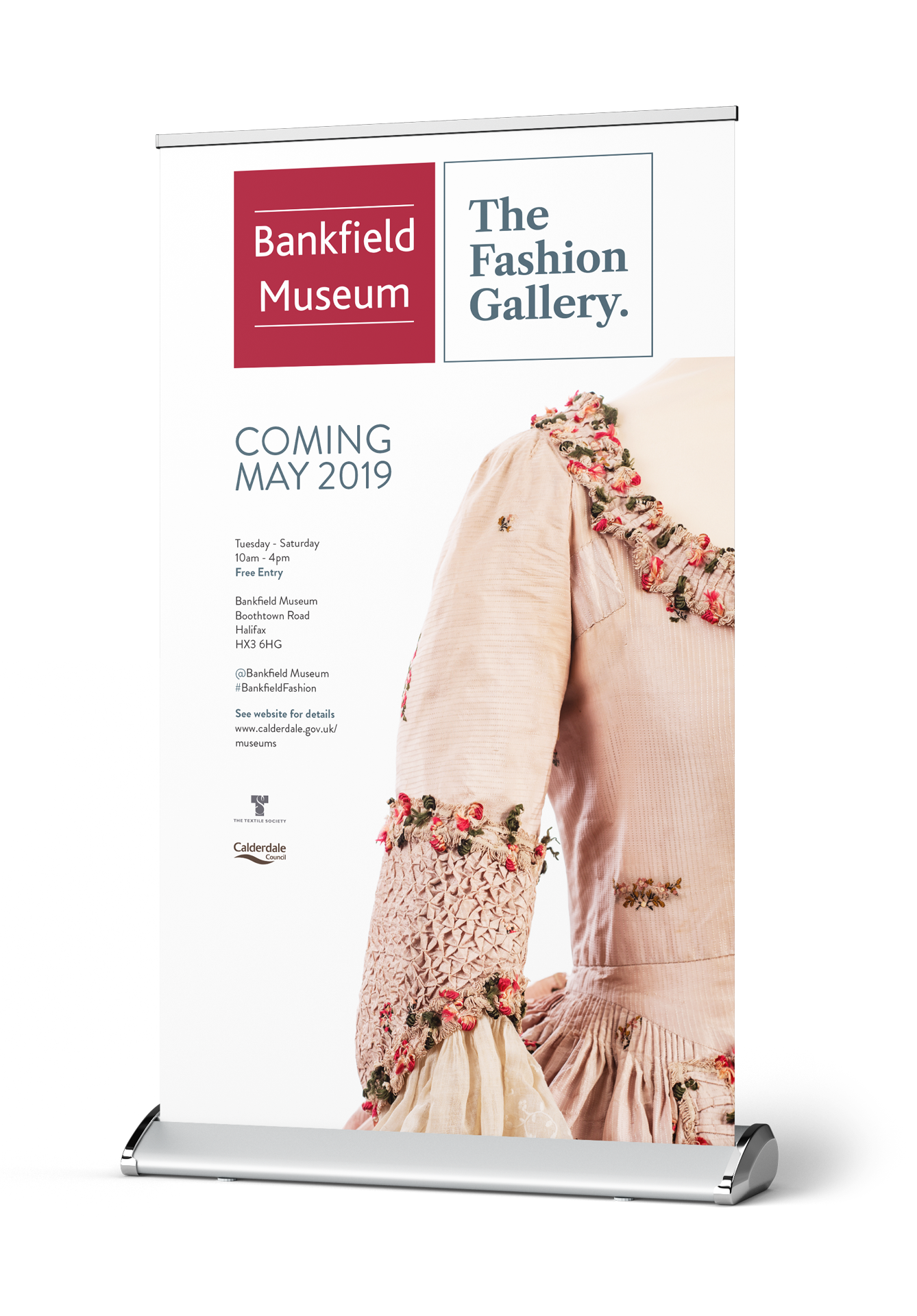 The Fashion Gallery Banner and Roller Banner Design Bankfield Museum Halifax Calderdale Council IDEA Design Rotherham Sheffield